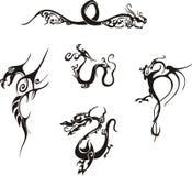 龙简单的纹身花刺 库存图片