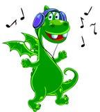 龙绿色听的音乐 库存照片