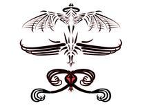 龙美妙的纹身花刺 免版税库存照片