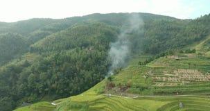 龙胜村庄和露台的米领域 股票视频