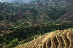 龙脊大阳台的,桂林村庄 库存照片