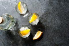 龙舌兰酒与柠檬切片,顶视图的伏特加酒射击 库存图片