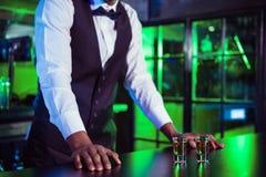 龙舌兰酒两块玻璃在酒吧柜台的 库存图片