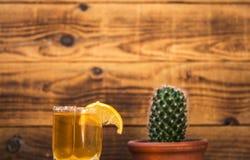 龙舌兰酒用柠檬和仙人掌在一木bacground 免版税库存图片