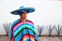 龙舌兰charro英俊的帽子人墨西哥serape 免版税库存照片
