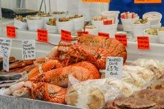 龙虾、螃蟹和其他贝类和seadfood待售在fis 免版税库存图片