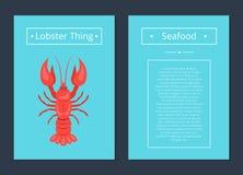 龙虾事海鲜海报红色小龙虾传染媒介 库存照片