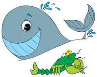 龙虾和鲸鱼例证 免版税库存图片