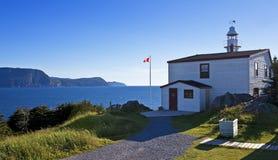龙虾小海湾头灯塔,纽芬兰 库存照片