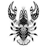 龙虾彩图的线艺术设计,商标, T恤杉设计,刺字等等 免版税库存照片