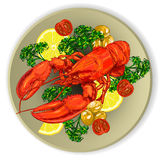 龙虾服务与菜 免版税库存图片