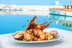 龙虾盘 希腊 免版税库存照片