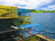 龙虾陷井被堆在渔码头 免版税库存图片