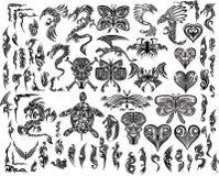 龙蝴蝶老鹰纹身花刺集 库存图片