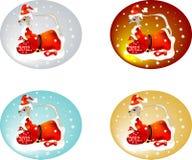 龙被设置的圣诞老人 库存图片