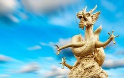 龙雕象和自然长的exporture蓝天 免版税库存照片