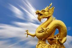 龙雕象和自然长的exporture蓝天 免版税库存图片