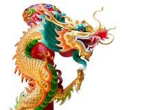 龙雕象(被隔绝)在泰国和空白的区域在左边 免版税库存图片