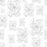 龙,另外大小,在黑白,样式,白色背景 库存例证