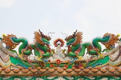 龙绿色雕象 库存照片