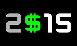 年2015年,与美元货币符号,与2条线的S的数字 免版税库存图片