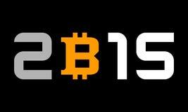 年2015年,与bitcoin货币符号的数字 库存照片