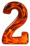 2,两,从玻璃的数字与发火焰的一个抽象样式 免版税图库摄影