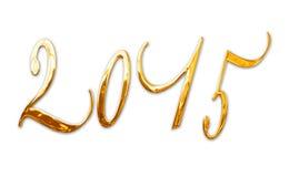 2015年,典雅的发光的3D金黄金属信件 库存照片