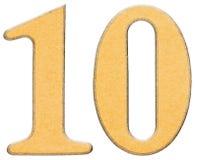 10,十,与黄色插入物结合的木头数字,隔绝了o 免版税库存图片
