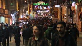 2017年,圣诞节,人们拥挤了,伊斯坦布尔istiklal街道,土耳其12月2016年, 股票录像
