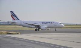 巴黎,在夏尔・戴高乐机场的威严的21法航飞机在巴黎 库存照片