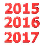 2015年2016年,在3D的2017个标志 库存照片