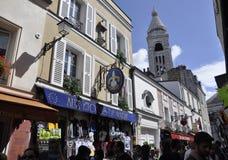 巴黎,威严的19,2013街道在蒙马特在巴黎 免版税库存图片