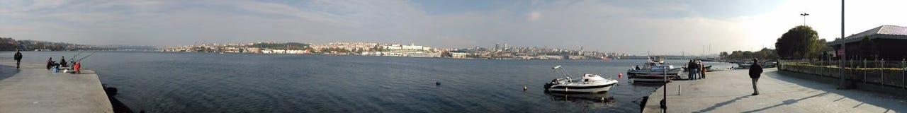 绳索,小船, goldenhorn,土耳其,伊斯坦布尔 图库摄影