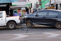 20-1-2019,拉特krabang,泰国,与前面的被弄脏的车祸事故 免版税库存照片