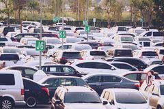 20-1-2019,新曼谷国际机场,泰国,汽车停车处 库存照片