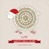2015年,新年好与逗人喜爱的绵羊的贺卡在圣诞节 免版税图库摄影