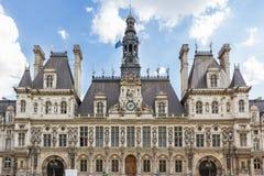 巴黎,旅馆de ville 免版税库存照片
