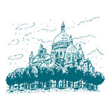 巴黎,法国的神圣的重点的大教堂 库存例证