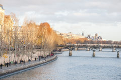 巴黎,法国, 2012年11月25日:与塞纳河和人的巴黎都市风景 免版税库存照片