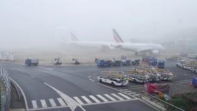 巴黎,法国- 2017年1月, 1日 空中客车在航空器停车处飞行在夏尔・戴高乐机场 有雾的日 免版税库存图片