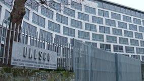 巴黎,法国- 2016年12月, 31日 联合国科教文组织标志板和办公室 库存照片