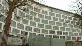 巴黎,法国- 12月, 31 联合国科教文组织牌和总部 库存照片