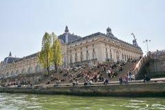 巴黎,法国- 2014年4月10日,人们在台阶o选址 免版税图库摄影