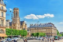 巴黎,法国- 2016年7月06日:圣日耳曼l'Auxerrois教会 库存图片