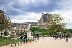巴黎,法国- 2017年5月2日:Tuileries庭院在与a的晚上 免版税图库摄影