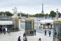 巴黎,法国- 10月20 :从马看见的埃佛尔铁塔 免版税图库摄影