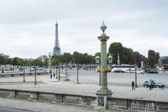 巴黎,法国- 10月20 :从马看见的埃佛尔铁塔 库存照片