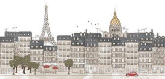 巴黎,法国-巴黎的地平线无缝的横幅  免版税库存图片