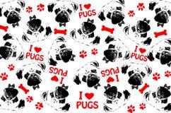 黑,红色和白色图表样式哈巴狗尾随背景 免版税图库摄影